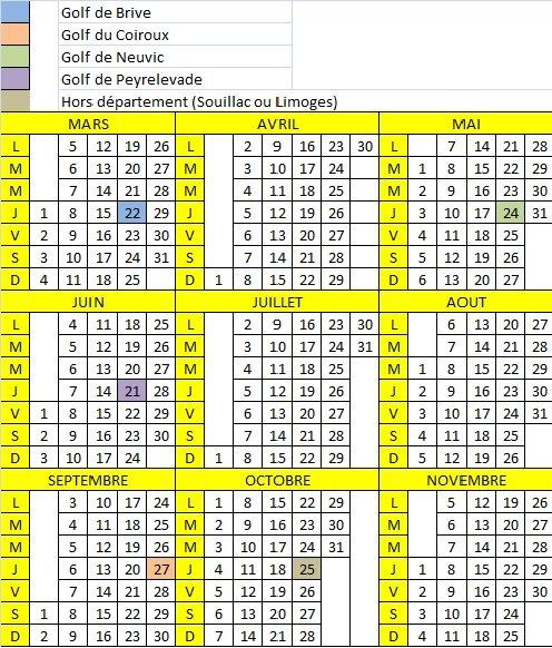 Calendrier des sorties calend20121